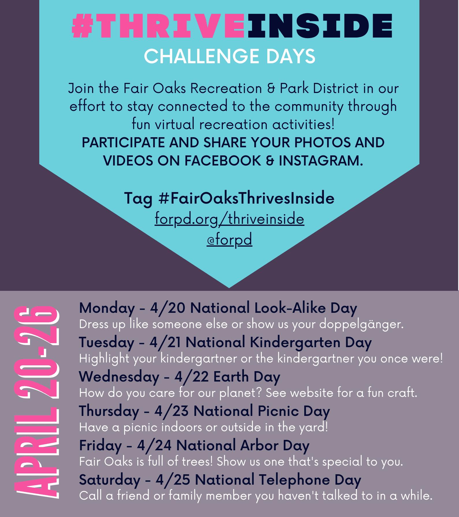 #FairOaksThrivesInside Weekly Challenges